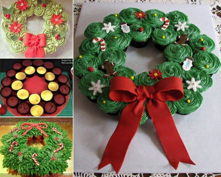 Rainbow Christmas Wreath Cake