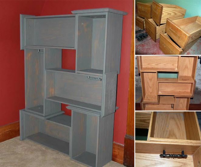 recyclez vos vieux tiroirs pour en faire une jolie biblioth que quebec echantillons gratuits. Black Bedroom Furniture Sets. Home Design Ideas