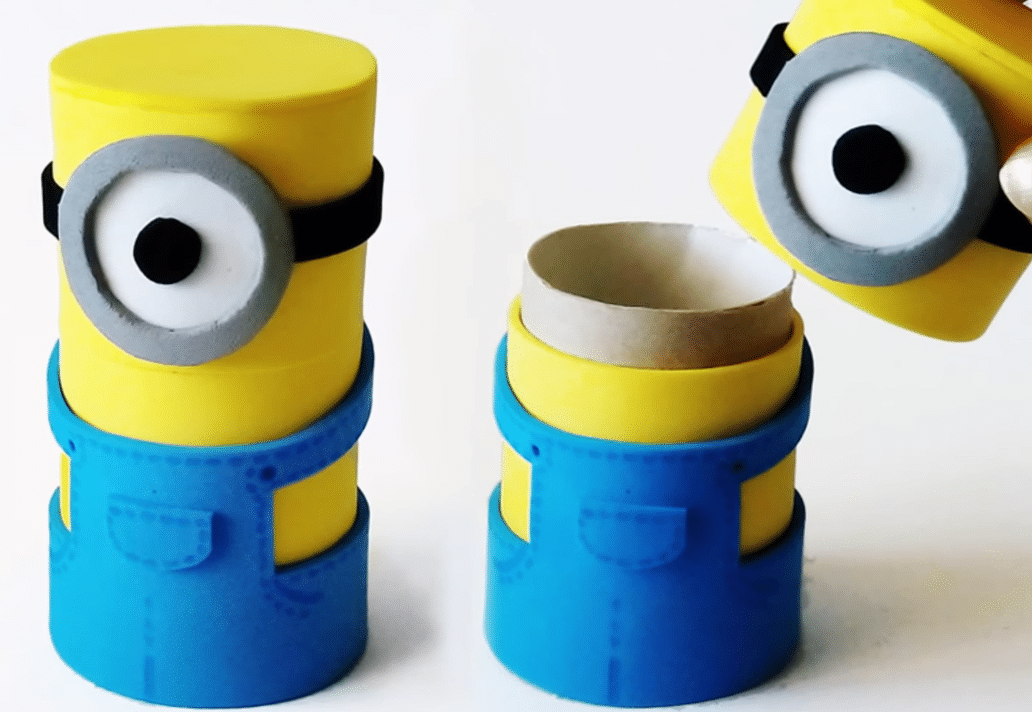 comment fabriquer des minions partir de tubes en carton. Black Bedroom Furniture Sets. Home Design Ideas
