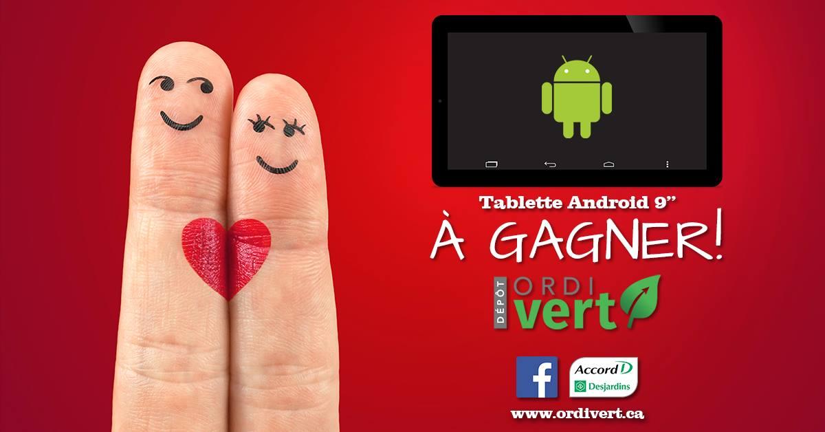 une tablette android de 9 remporter quebec echantillons gratuits. Black Bedroom Furniture Sets. Home Design Ideas