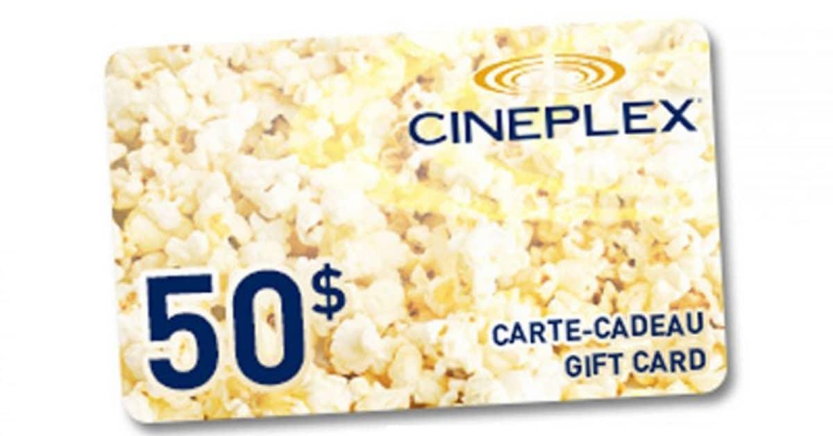 Carte Cadeau Cineplex.En Jeu 1 Carte Cadeau Cineplex De 50
