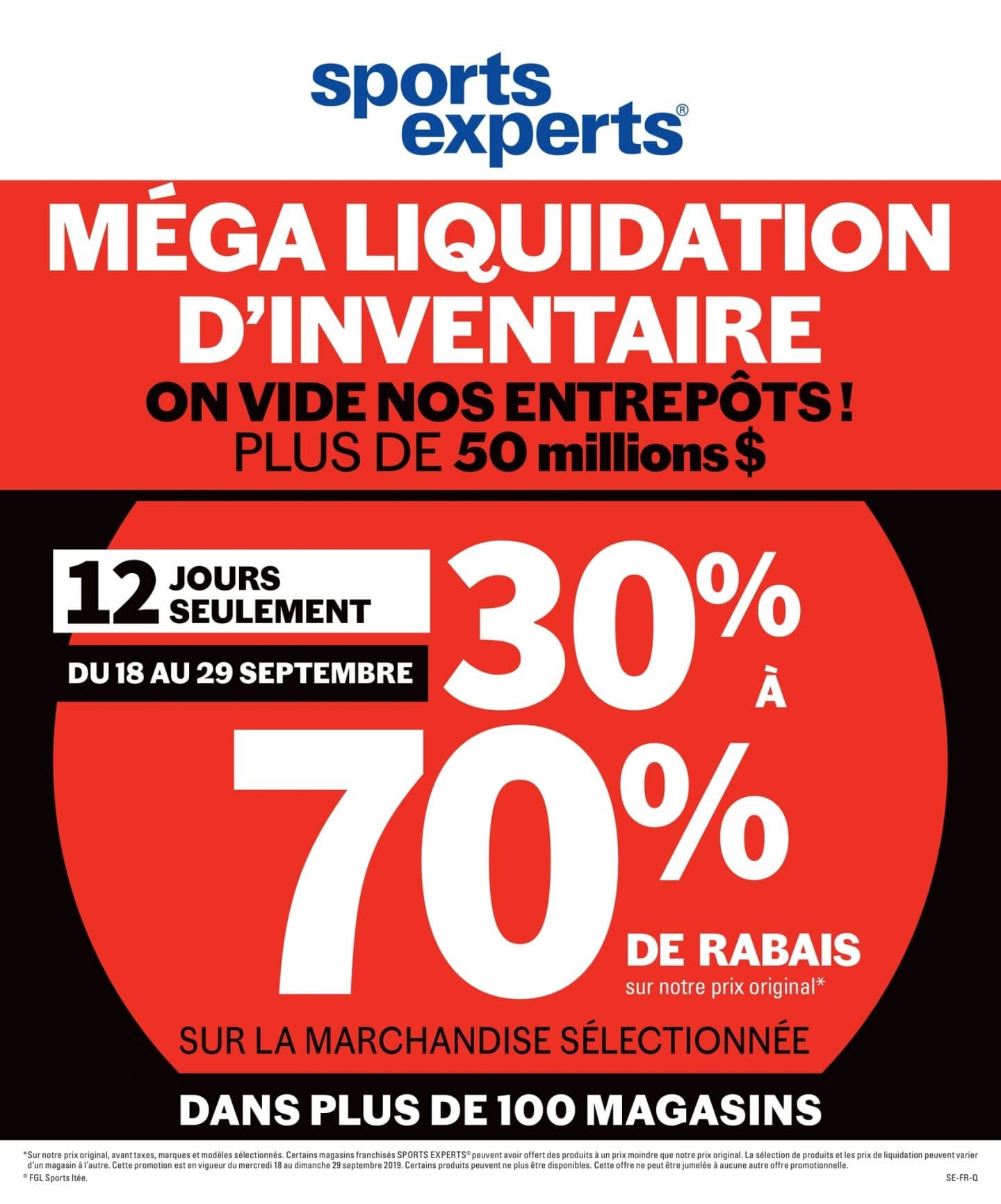 Circulaire Sports Experts 18 septembre - 29 septembre 2019