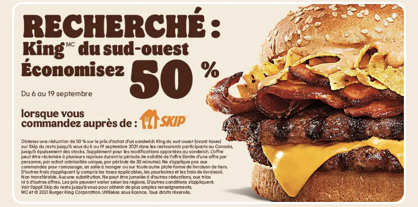 coupons rabais skip burger king