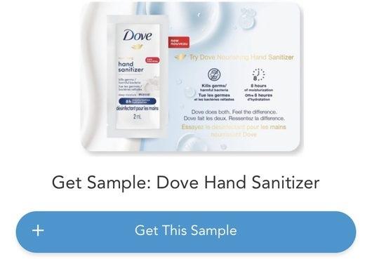 dove desinfectant pour les mains echantillons gratuits Copie