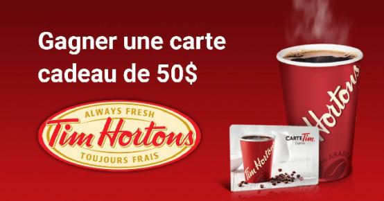 Carte Cadeau Tim Horton.Gagnez Une Carte Cadeau Tim Hortons De 50 Quebec